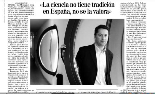 Entrevista a José Ignacio Cirac en EL MUNDO.
