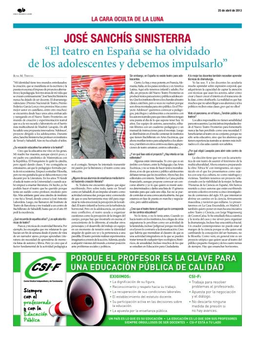 Entrevista José Sanchis Sinisterra