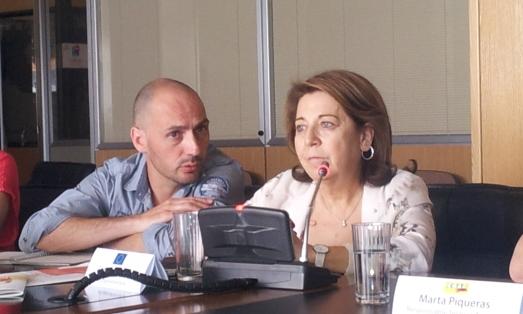 Corinne Lepage, en la rueda de prensa con Juan Felipe Carrasco,de Salvia.