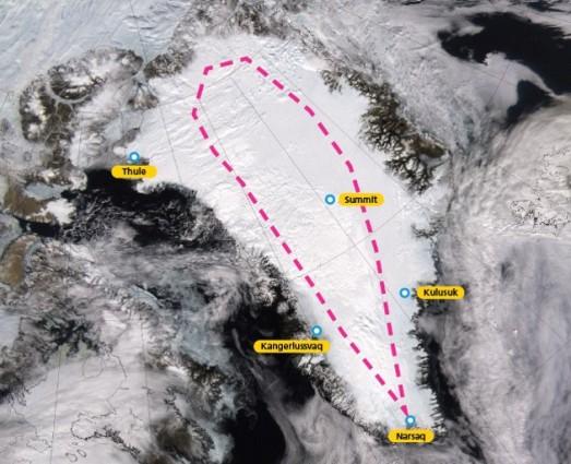 Mapa de la próxima expedición a Groenlandia.