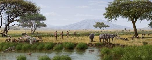 Recreación Garganta de Olduvai, según Mauricio Antón. |ROSA M. TRISTÁN