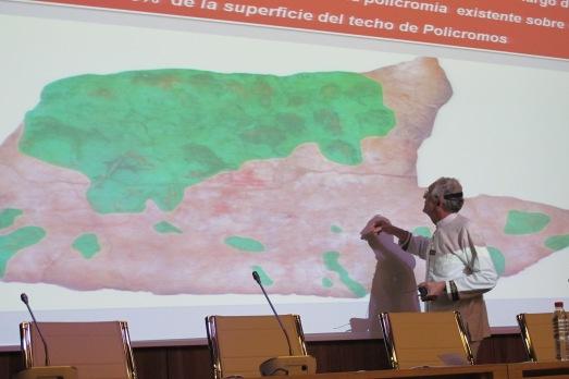 En verde, la zona del Techo de Policromos que se conserva. En rosa, lo perdido.