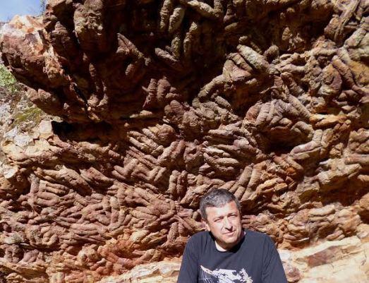 Juan Carlos Gutiérrez-Marco, ante las crucianas, huella de la orgía de trilobites. |R.M.T.