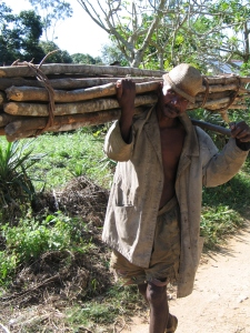 Los bosques costeros en Madagascar se han reducido un 90%. Aquí, un nativo transportando madera, no recuerdo el nombre del lugar. |R.M.T.