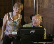 Con el físico Stephen Hawking, en septiembre de 2014