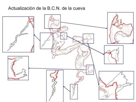 Planta real de la Cueva de Altamira. En rojo, como era, y en negro cómo es. Los cuadrados amplían las zonas nuevas. |ASFIMAGEN