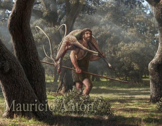 Un neandertal, con un ciervo 'H. mediterraneus' al hombro, en Getafe. |ILUSTRACIÓN CEDIDA POR MAURICIO ANTÓN.