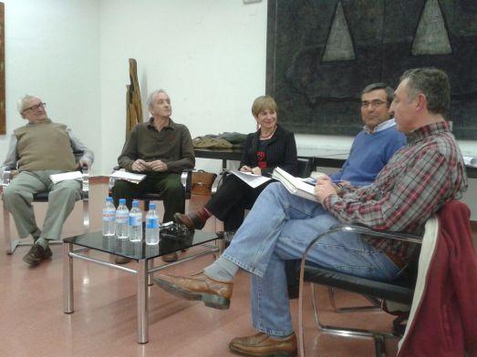 Eduardo Coca Vita, Carlos Cano, yo misma, Manuel Alonso Wert y Miguel A. Hernández, en el debate.