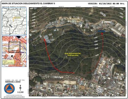 Área de deslizamiento en Cambray 2, faciliada por CONRED.